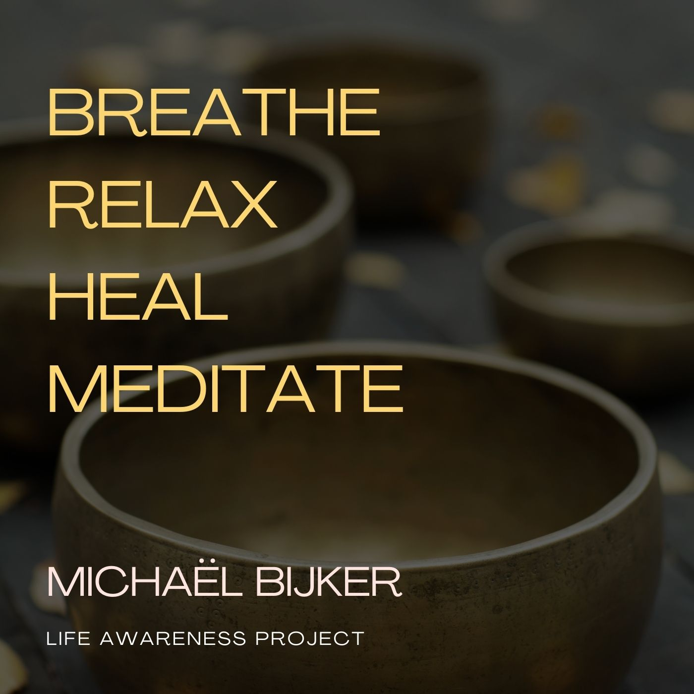 Breathe, relax, heal, meditate words on four bowls